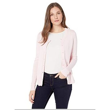 Essentials Womens Lightweight Crewneck Cardigan Sweater, Light Pink, X-Small
