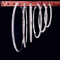 Rhinestone Small And Big Hoop Earrings For Women Bijoux Classic New Fashion Jewelry Gold Plated