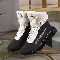 Balenciaga Speed Trainers Black/ White With Black Sole Unit Sneakers