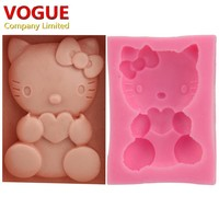 Nice Kawaii DIY Cute Hello Kitty Cake Molds Fondant Silicone Chocolate Moulds Candy Molds Bakeware N1873