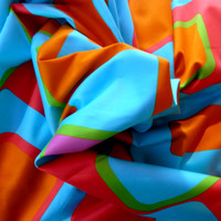 Cotton Satin Couture Fabric Modern Print Turquoise Purple Red Green and Orange Half Yard