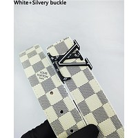 LV fashionable men's and women's casual belt hot seller with checked buckle printed belt White+Silvery buckle
