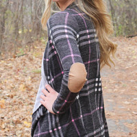 Plaid Cardigan with Elbow Patches - Charcoal