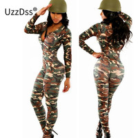 Long Sleeve Rompers Womens Jumpsuit Army Soldier Catsuit Camouflage Bodycon Jumpsuit Plus Size Jumpsuits And Rompers Bodysuit
