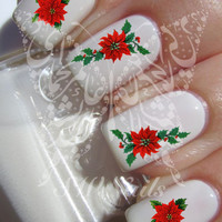 Christmas Xmas Nail Art Red Flower Poinsettia Nail Water Decals Transfers Wraps