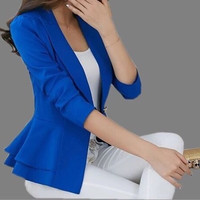 Spring New High Quality Design Women Jacket Casual Blazer Slim Suit Work Wear Coat Yellow Black White Purple Candy Color Q43