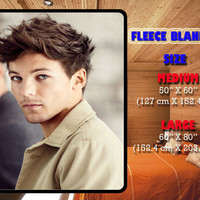 "LOUIS TOMLINSON One Direction on Fleece Blanket size M (50""x60""), L(60""x80"") New Hot Item"