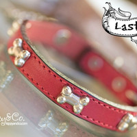 Tiny Red Leather Dog Collar