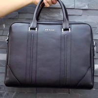 PRADA MEN LEATHER BRIEFCASE BAG CASUAL BAG