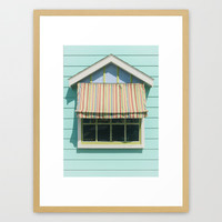 Summer cottage stripped canvas awning Framed Art Print by Wood-n-Images