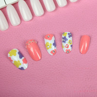 Flower 3D carved Manicure tablets False nail diamond Bride Manicure tablets nail stickers bradawl nail painting 55#
