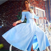 Solid two-piece long-sleeved dress 2016