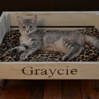 Pet Bed Cat or Small Dog Wood Industrial Vintage Look Customize Personalize