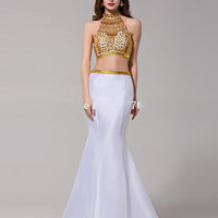 Sexy Backless Two Piece Prom Dresses Halter Gold Beading Crystals White Satin Mermaid Prom Party Gowns