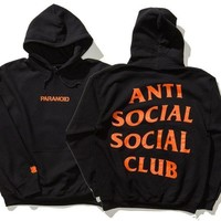 Anti Social Social Club Letter Print Lovers Fashion Hoodie Print Long Sleeve Top Sweater I
