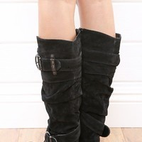 DbDk Xally4 Black Buckle Knee High Flat Boots and Shop Boots at MakeMeChic.com