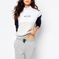 Nicce London High Neck Colour Block Sweatshirt With Front Logo