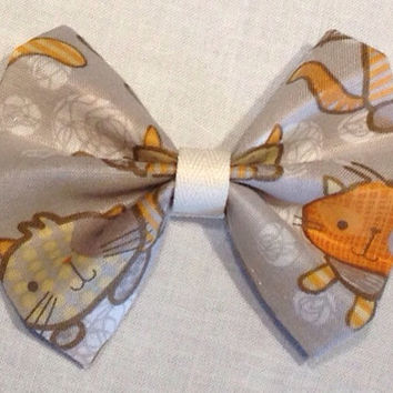 Cute Kitten Hair Bow for Cat Lovers; Orange Kitten, Fabric Bow, Hair Clip, Back to School, Fabric Hair Bow