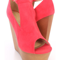 Red Peep Toe Cut Out Platform Wedges Faux Suede
