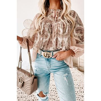 Hit The High Road Mixed Print Long Sleeve Top (Cream Multi)