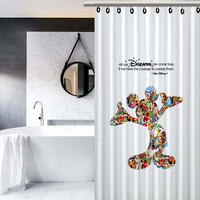 Walt Disney Dreams Quote Mickey Mouse Character Montage Custom Design Print on Waterproof Shower Curtain Bathroom