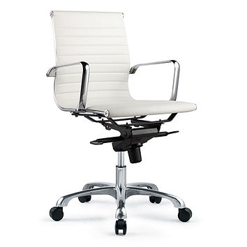 Moe's Home Collection Bern Low Back Office Chair,White White