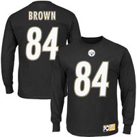 Men's Pittsburgh Steelers Antonio Brown Black Eligible Receiver II Name and Number Long Sleeve T-Shirt