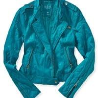 Faux Leather Quilted Sleeve Moto Jacket
