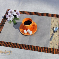 Adorable placemat décor natural fabric with orange facing Natural flax placemats Set of 2/4/6 placemats Prewashed, softened cloth placemats