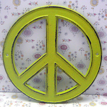 Peace Sign Lime Green Cast Iron Circle Wall Decor Rustic Retro Funky 70's Style Shabby Chic Distressed Weathered Wall Art Sign