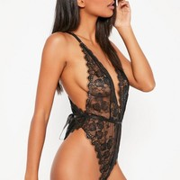 Missguided - Black Delicate Lace Teddy