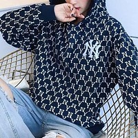NY MLB Women Men Personality Full Logo Print Long Sleeve Hoodie Sweater Sweatshirt