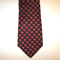 Vintage Horchow Valentine Silk Necktie, Red Hearts, Men's Accessory, gift for him
