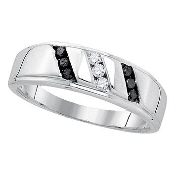 Sterling Silver Men's Round Black Color Enhanced Diamond Wedding Band Ring 1/4 Cttw - FREE Shipping (US/CAN)