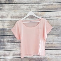 Pink Pocket Tee with Cuffed Sleeves