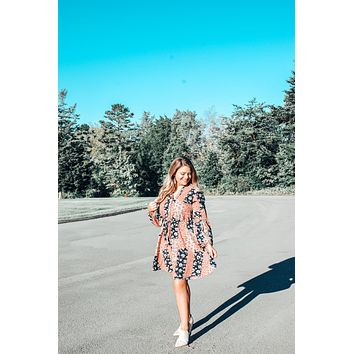 Patches Dress -Coral