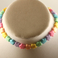 Fairy Kei Pastel Candy Star Necklace Choker