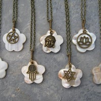 Spiritual Charm Necklace, Mother of Pearl Shell Necklace, Religious Jewelry, Personalized Om Necklace, Choose Your Charm, Antiqued BRONZE