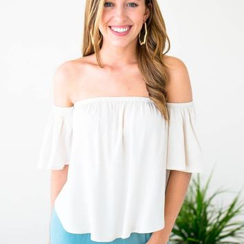Onto Better Things Flowy Off Shoulder Top