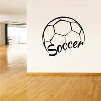 Wall Vinyl Sticker Decals Decor Soccer Football Ball Gates Sport Word Sign Quote (z2804)