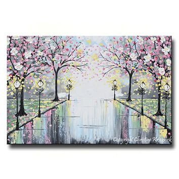 GICLEE PRINT Art Abstract Painting Floral Pink Blossoming Cherry Trees Park Flowers Canvas Prints Decor