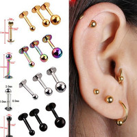 5Pcs/lot 16G 18G Tragus Helix Bar 3-4mm Ball Stainless Steel Labret Lip Bar Rings Stud Cartilage Ear Piercing Body Jewelry