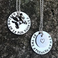 Hercules Inspired Collection, 2 Handstamped necklaces with name charm, by the strength of his heart, giving up is for rookies
