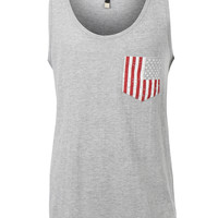 LE3NO Mens Casual American US Flag Print Sleveless Tank Top T Shirt (CLEARANCE)