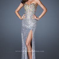 Long Strapless Sweetheart Sequin Dress