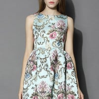 My Fair Lady Baroque Embroidery Dress in Blue Blue
