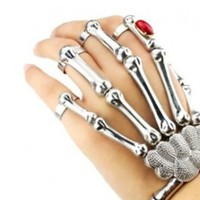 Silver Skeleton Bone Hand Bracelet with Ring Detail