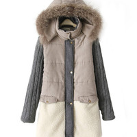 Long Sleeve Hooded Fur Coat