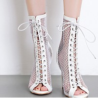 Hot style women's fish net lace boots shoes