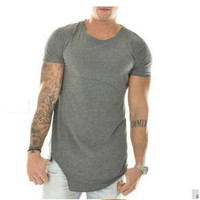 KANYE WEST Fashion Hip Hop T Shirt Solid Color Irregular O-Neck Short-Sleeved T-Shirt Plus Size M-XXL